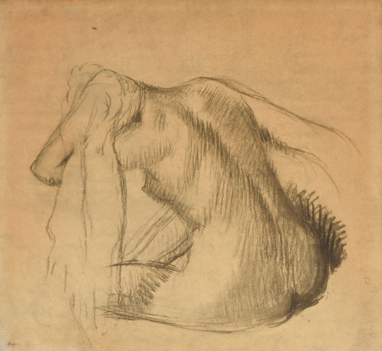 After the bath, nude wiping her hair