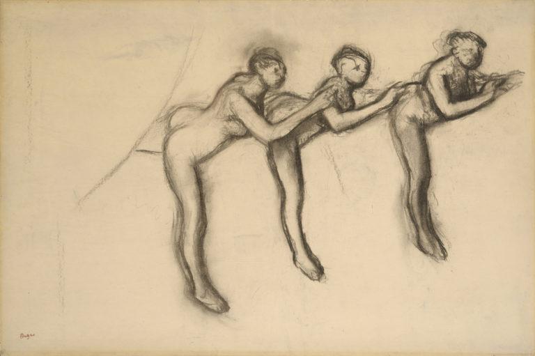 Three nude dancers in arabesque